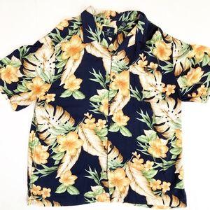 Caribbean Joe Men's Hibiscus Print Hawaiian Shirt